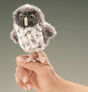 SPOTTED-OWL-Finger-Puppet-2638-FREE-SHIPPING-in-USA-Folkmanis-Puppets
