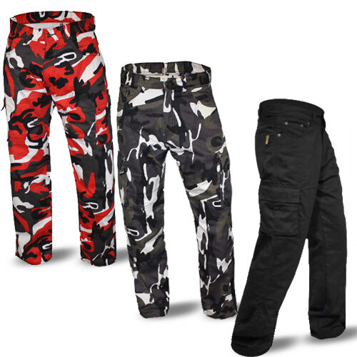 Mens Cargo Jeans Motorcycle Reinforced PROTECTIVE LINING aramid fibres overstock