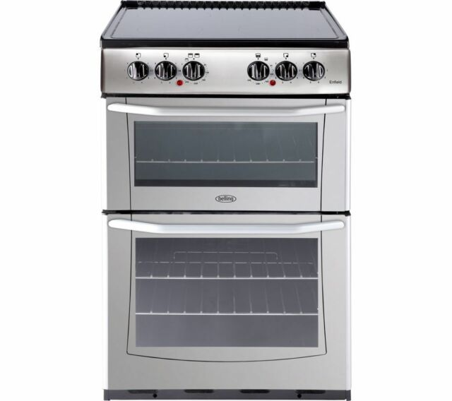 Belling Enfield E552 AA 55cm Electric Ceramic Hob Double Oven Cooker Silver #295