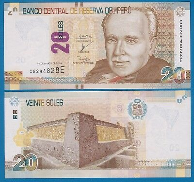 NEW PERU 2016 UNC 20 Peruvian Nuevo Soles Banknote Paper Bill P