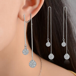 Women-Hot-925-Sterling-Silver-Zircon-Beads-Long-Tassel-Ear-Stud-Drop-Earrings