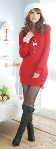 Women-039-s-Winter-Long-Sleeve-Knitted-Red-Dress-Size-14-to-16