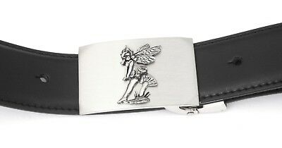 Sitting Fairy Buckle And Belt Set Black Leather Ideal Fairy Gift 122 Quell Sommer Durst