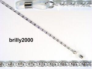 Brillenkette-Plaettchenkette-aus-Metall-silber-nickelfrei-elastische-Schlaufe