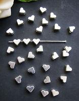 30 Metallperlen Herz in silber, 6mm, Perlen basteln, Herzen, Zwischenperle