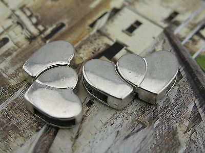 3 Sets 11.0x3.0mm Double Heart Shaped Strong Magnetic Clasp For Leather Cord