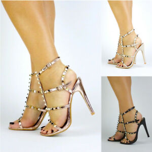 New Womens Stud Strappy Heel Rose Gold Black Nude Heels UK Sizes 3 ...