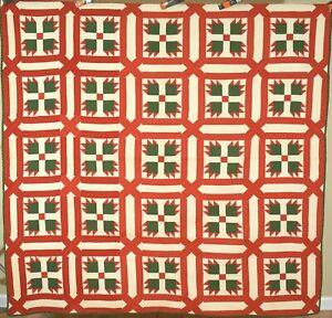 VIBRANT Vintage 1870's Red & Green Bear Paw Antique Quilt ~Garden Maze Framing!