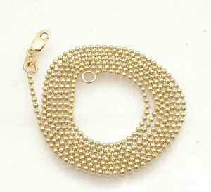 1-5mm-All-Shiny-Round-Bead-Ball-Chain-Necklace-REAL-Solid-14K-Yellow-Gold