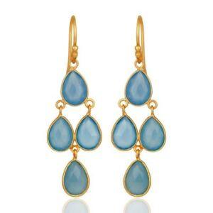Blue-Chalcedony-925-Sterling-Silver-Dangle-Earrings-Gemstone-Jewelry