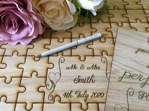 Personnalisé en bois Mariage Livre d/'or Jigsaw Puzzle souvenir anniversaire