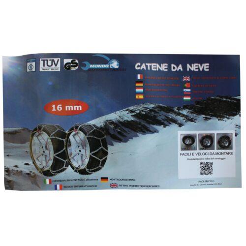 CATENE DA NEVE 16mm OMOLOGATE V5117 4x4 SUV PER PNEUMATICI 235//50-19 235//50 R19