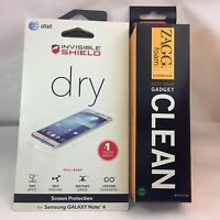 Zagg Invisible Sheild Screen Protector Samsung Galaxy Note4 W' Zagg Cleaner