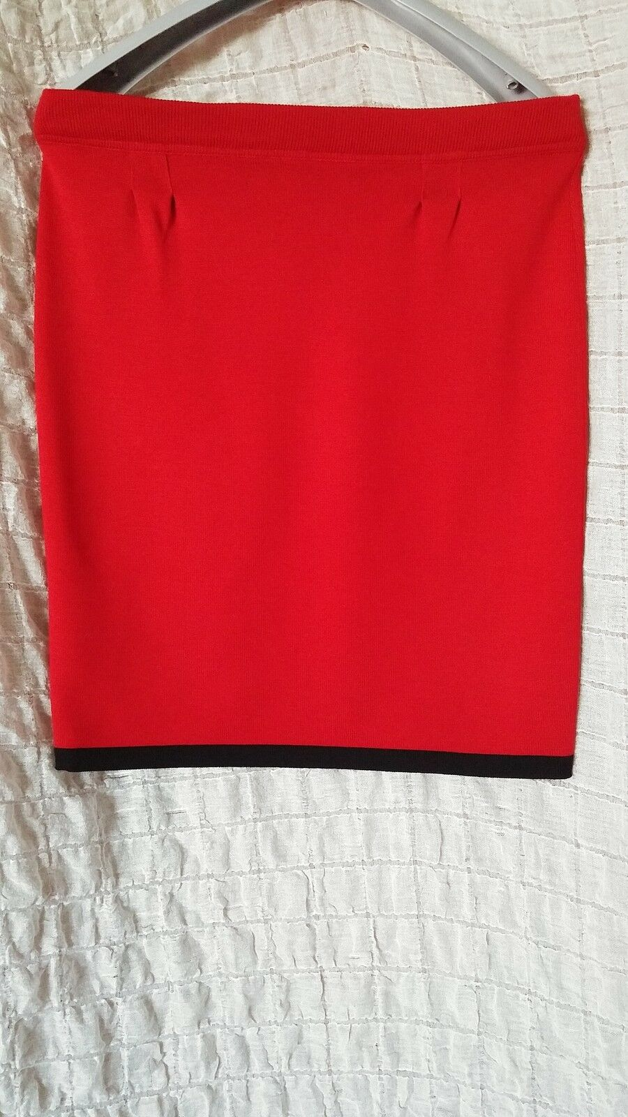 Escada Margaretha Ley red 100% wool knitted pencil straight skirt size 42 (L-XL)