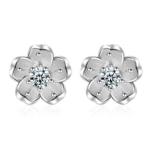 Hot-Elegant-925-Sterling-Silver-Natural-Crystal-Cherry-Blossoms-Stud-Earrings