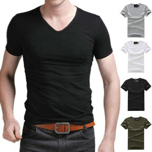 Men-039-s-V-amp-O-Neck-Tops-Tee-Shirt-Slim-Fit-Short-Sleeve-Solid-Color-Casual-T-Shirt