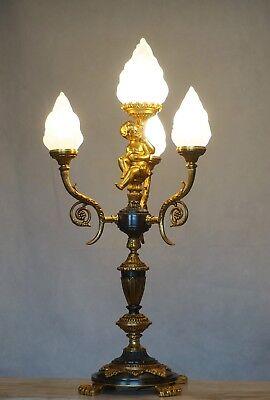 Große Putto Tischlampe Alter Tischleuchter im Empire Stil Figur Stehlampe Lamp