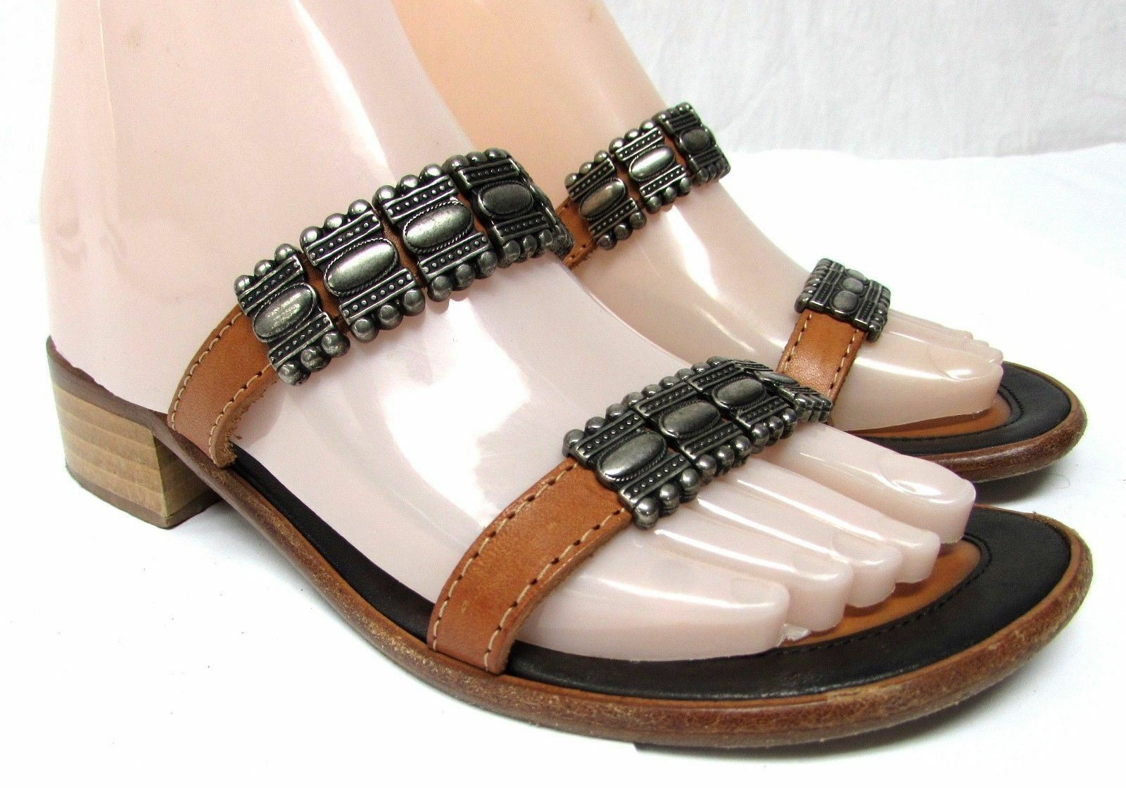 Sesto Meucci slides size 7.5 M metal brown double strap slides Meucci leather Sandals shoes 3e4881