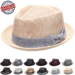 Womens Stripe Fedora Hat Lightweight Summer Trilby Hat