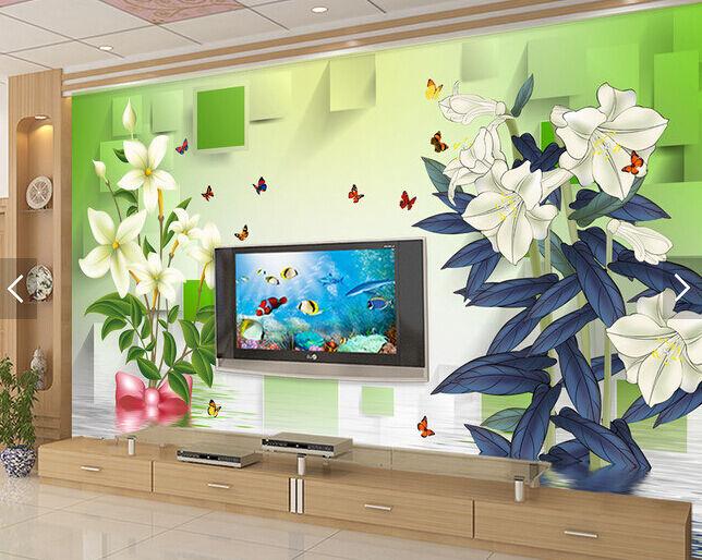 3D Lily, Schmetterling 2092 Fototapeten Wandbild Fototapete BildTapete FamilieDE