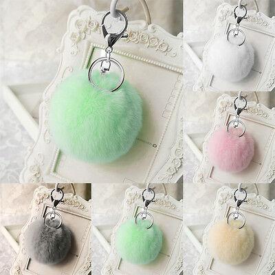 Charm Key Ring Rabbit Fur Ball PomPom Cell Phone Car Keychain Pendant Handbag