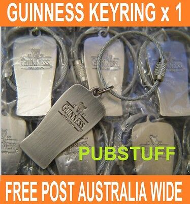 GUINNESS IRISH DRAUGHT BEER ~ STAINLESS STEEL KEY RING ~ FREE POSTAGE AUSTRALIA