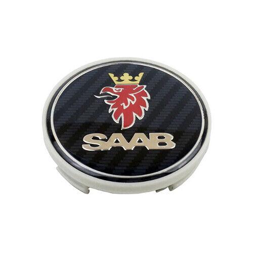 SAAB 4x63mm Blau Emblem Felgen Kappen Nabendeckel Nabenkappen Logo NEU