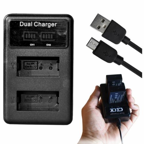 Doble EN-EL20 EL20a Cargador De Batería Para Nikon 1 S1 1 J1 1 J2 1 J3 1 V3 Coolpix un