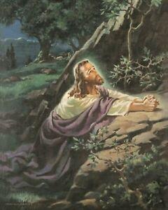 Warner-Sallman-CHRIST-IN-GETHSEMANE-Jesus-Praying-Garden-8-X-10-ART-PRINT