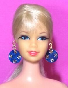 Dreamz-PATIO-PARTY-BLUE-EARRINGS-MOD-60-039-s-VINTAGE-REPRO-Doll-Jewelry-for-Barbie