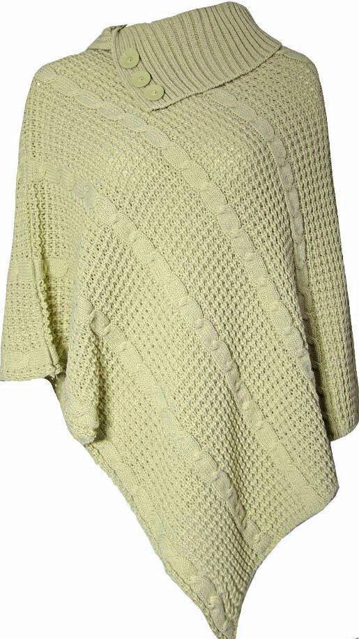 Femme Chunky Câble Câble Chunky Tricot Ponchos Femmes Polo Col Wrap Châle Pull Top 8-14 cea12b