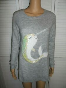 Pretty-LC-Lauren-Conrad-size-xs-gray-sweater-sequin-Narwhal-on-the-front-women