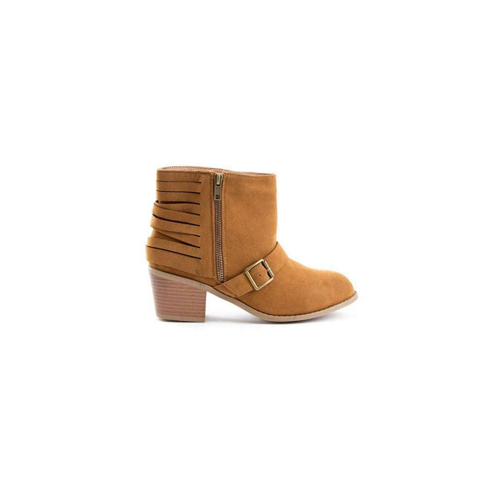 Soho shoes Women's Suede Buckle Cut Out Ankle Boots Booties Faux Suede Casual
