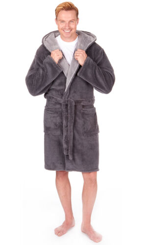 Da Uomo Supersoft Housecoat Fleece BATH ROBE Vestaglia Gents Caldi Invernali Stile