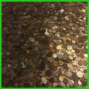 TEN-10-LB-POUNDS-FOREIGN-amp-TOKEN-MIXED-COINS-OLD-UNSEARCHED-WORLD-LOT-SILVER
