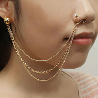 Septum Nose To Ear Chain / Non-pierced Nose Ring & Pierced Earring Pe1076