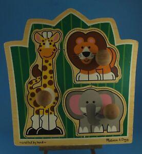 Details About Melissa Doug Jungle Friends 3 Piece Jumbo Knob Puzzle 3375