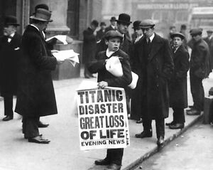 1912-Passenger-Liner-RMS-TITANIC-Glossy-8x10-Photo-Print-Newsboy-Paper-Poster