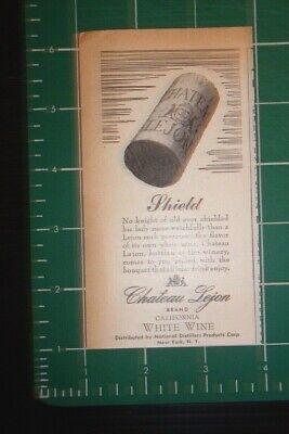 Merchandise & Memorabilia Ny High Quality And Low Overhead 1946 Chateau Lejon White Wine Advertisement New York
