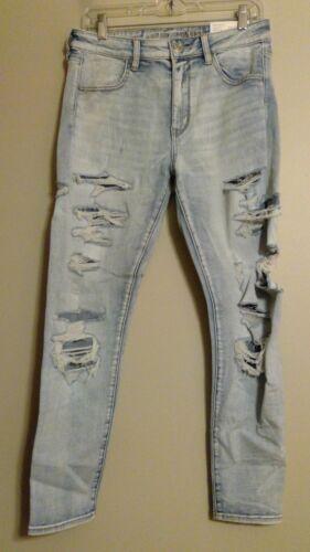 NWT AMERICAN EAGLE Misses Hi-Rise Jegging Jeans Sz 12R Destroy Stretch #638784