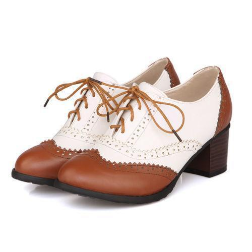 Retro Womens British carved Brogue Oxford Block Mid Heel Pumps Lace Up Shoes new