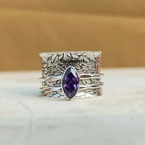 Amethyst-Ring-925-Sterling-Silver-Spinner-Ring-Meditation-Statement-Jewelry-A242