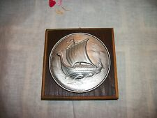 Hardanger Tredesign Pewter & Wood Viking Ship Wall Plaque Made in Norway