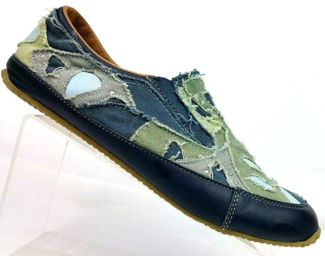 vendita calda online Vintage M3DIUM M. Coleman Coleman Coleman Horn Designed Navy Canvas Leather Loafer Donna  11  merce di alta qualità e servizio conveniente e onesto