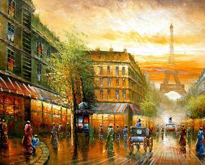Canvas-Modern-Art-wall-Decor-Paris-Eiffel-Tower-Urban-Street-Print-Oil-Painting