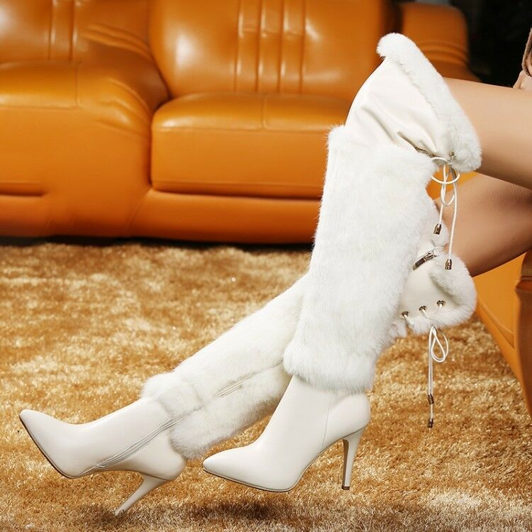 New Women's Warm Fur Lining Stilettos High Heels Over The Knee Boots Shoes n004