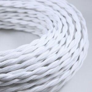 Cable Electrique Textile Tissu Torsadé Normes Ce 2075mm Blanc