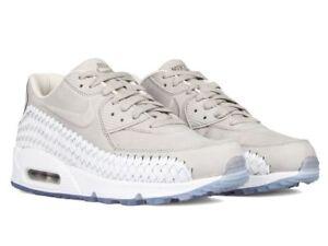 Men's UK Nike Air Max 90 Woven Running Shoes Phantom White