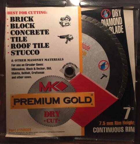 "MK Premium Gold 7/"" Diamond Dry Blade  #150669  Continuous  Rim  OLD STOCK NEW"
