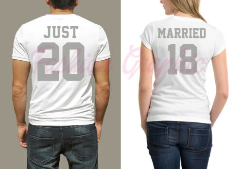 Oro Matrimonio Donna Sposa Argento T Married 2018 Just Coppia shirt Uomo Sposi pZFqgwz